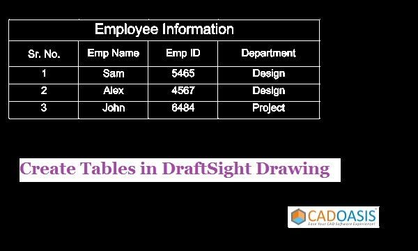 Create Tables in DraftSight Drawing